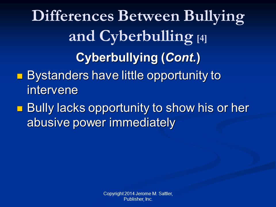 Differences Between Bullying and Cyberbulling [4]